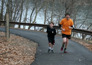 Bryce Running up the hill in his first 5k! ~ 2.7 miles into it!