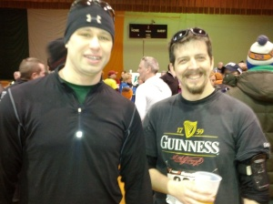 Chris and I after the race.Notice the free beer. :) I love races with free beer.