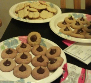 My Lovely Peanutbutter Blossoms in the front, the Choir's cookies in the back.