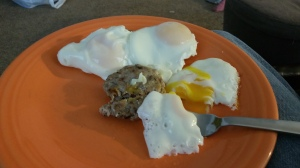 Homemade chicken sausage with over-easy eggs!